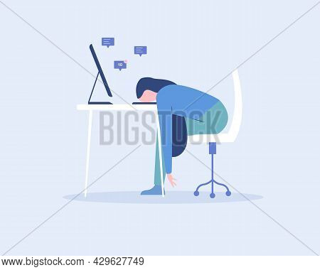Young Exhausted Female Employee Sitting At The Office. Professional Burnout. Vector Illustration Fla