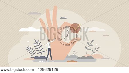 Right Timing With Accurate Time Planning Management Tiny Person Concept. Successful Countdown And Co