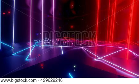 Neon Linear Lamps With Gradient Glow Of Red-blue Color Over A Low Poly Surface Onto Which Luminous M