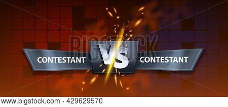 Vs Fight Game Background, Vector Versus Battle Banner, Esport Competition Duel Illustration, Red Til