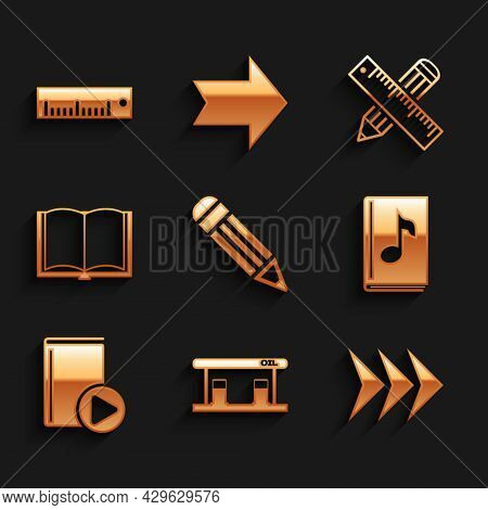 Set Pencil, Gas Filling Station, Arrow, Audio Book, Open, Crossed Ruler And Pencil And Ruler Icon. V