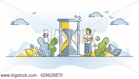 Patience As Wait For Slow, Calm And Inefficient Time In Idle Outline Concept. Bored Businessman Wait