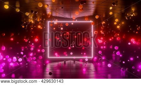 Neon Glow Spheres Fly Indoors With Smooth Light Gradient. Yellow Purple Red Colors. Simple Abstract