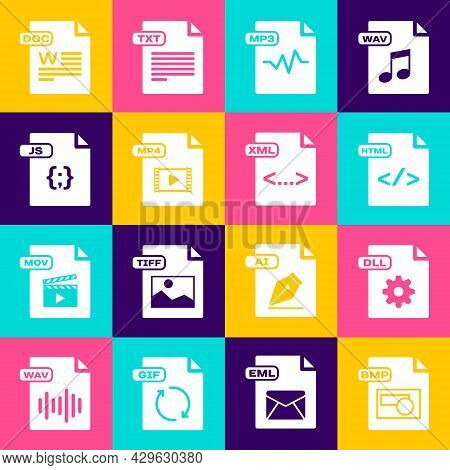 Set Bmp File Document, Dll, Html, Mp3, Mp4, Js, Doc And Xml Icon. Vector