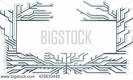 3d Render. Abstract Black Wireframe On White Bg. Ai Geometric Pattern Of Lines Form Frame With Copy