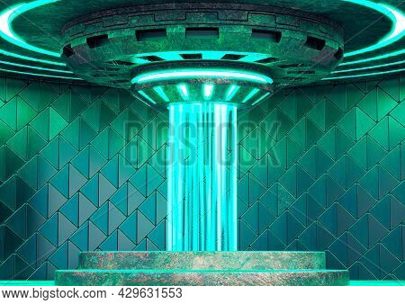 Empty Teleport Station On Spaceship. Futuristic Science Fiction Concept. 3d Illustration