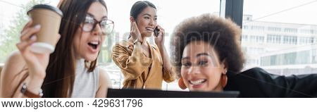Astonished Interracial Business Partners Near Asian Woman Talking On Smartphone, Banner