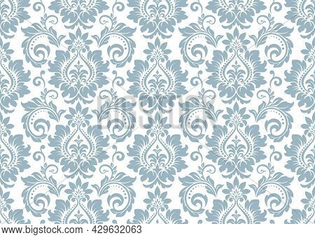 Wallpaper In The Style Of Baroque. Seamless Background. White And Blue Floral Ornament. Graphic Patt