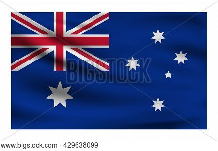 Realistic National Flag Of Australia. Current State Flag Made Of Fabric. Vector Illustration Of Lyin