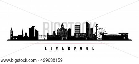 Liverpool Skyline Horizontal Banner. Black And White Silhouette Of Liverpool, Uk. Vector Template Fo