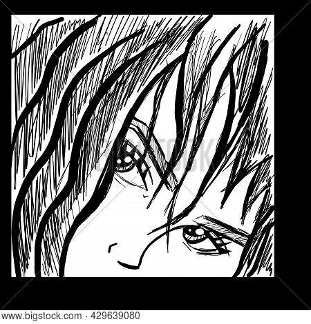 Manga Style. Japanese Cartoon Comic Concept. Anime Characters. Vector Design For T-shirt Graphics, B