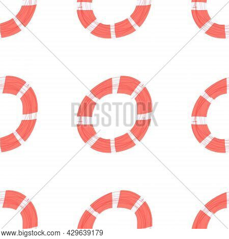 Hand Drawn Illustration Of Red Life Saver Ring Seamless Pattern. Nautical, Sea Theme For Backgrounds