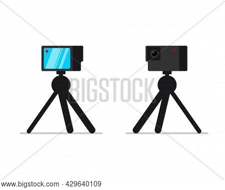 Action Camera On Tripod Stand Front And Back View Set. Mobile Hd Camcorder On Rack. Video Blogger Eq