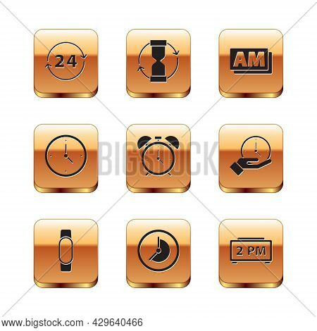 Set Clock 24 Hours, Smartwatch, Alarm Clock, Am, Digital Alarm And Old Hourglass Icon. Vector