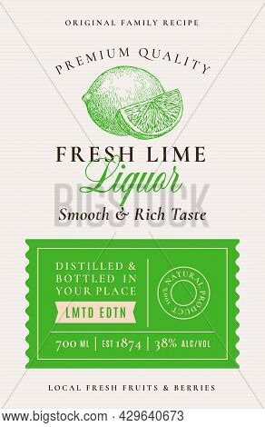 Family Recipe Lime Liquor Acohol Label. Abstract Vector Packaging Design Layout. Modern Typography B