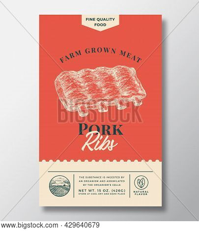 Farm Grown Meat Abstract Vector Packaging Design Or Label. Modern Typography Banner, Hand Drawn Pork