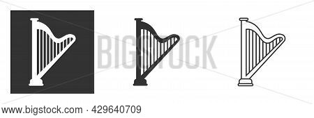 Harp Glyph Symbol Vector Isolated On Background. Flat Vector Harp Symbol Sign From Modern Music Coll
