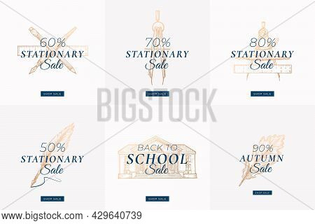 Stationary Autumn Sale Set. Abstract Vector Labels, Signs Or Card Templates Collection. Hand Drawn S