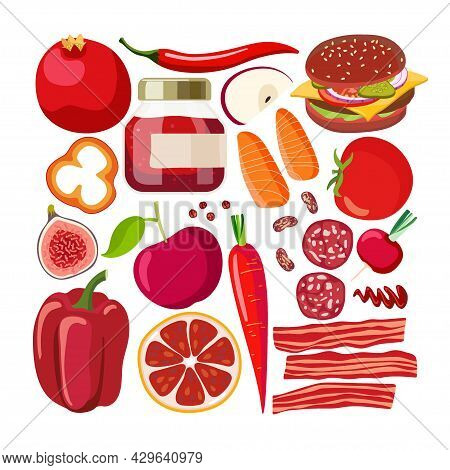 Red Vector Food. Vegetables And Fruits And Other Red Food On White. Chromotherapy, Color Benefits To