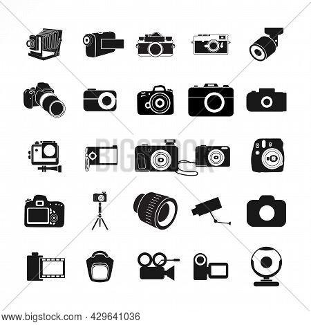Camera Icon Set, With Digital Camera, Retro Camera, Tripod