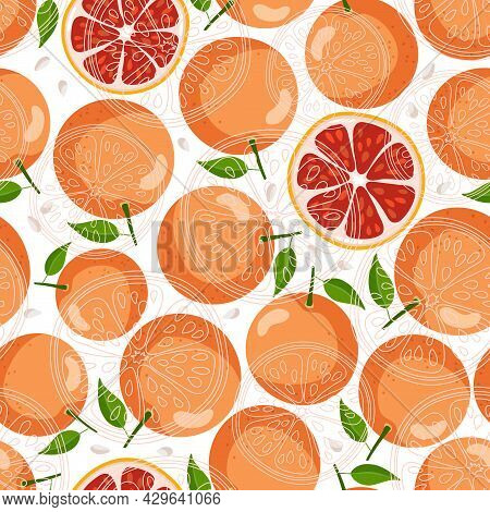 Red Grapefruit Seamless Pattern. Flat And Linear Vector Whole Fruit With Leaves And Slices, Seeds On
