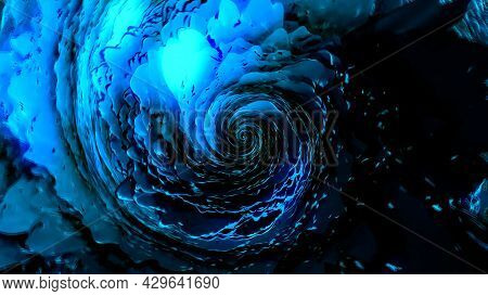Abstract Blue 3d Spiral Shaped Tornado With Unusual Transforming Texture, Seamless Loop. Motion. Top