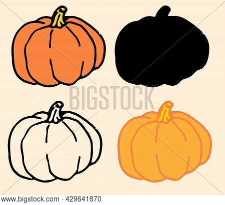 Vector Set Of Pumpkins Of Red-orange Color.collection Of A Round Pumpkin Hand-drawn In Doodle Style,
