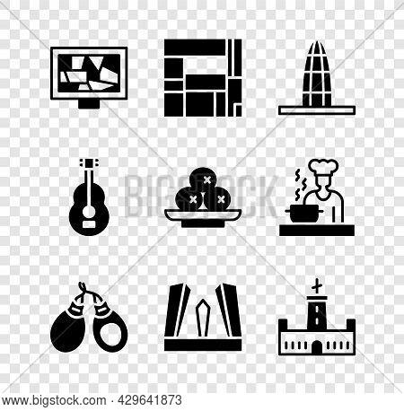 Set Picture Art, House Edificio Mirador, Agbar Tower, Castanets, Gate Of Europe, Montjuic Castle, Sp