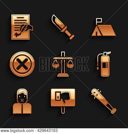 Set Scales Of Justice, Protest, Baseball Bat With Nails, Fire Extinguisher, Censor And Freedom Speec