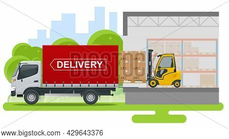 Isometric Logistics And Delivery Concept. Delivery Home And Office. Logistics, Warehouse, Freight, C