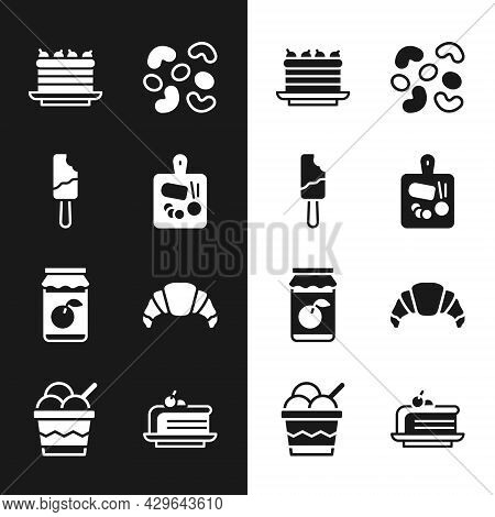 Set Cutting Board, Ice Cream, Cake, Jelly Candy, Jam Jar, Croissant, Piece Of Cake And Bowl Icon. Ve