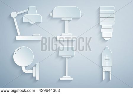 Set Floor Lamp, Led Light Bulb, Wall Sconce, Light Emitting Diode, Table And Icon. Vector