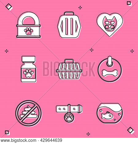 Set Canned Food, Pet Carry Case, Heart With Cat, Medicine Bottle And Pills, Dog Collar, No Shit And
