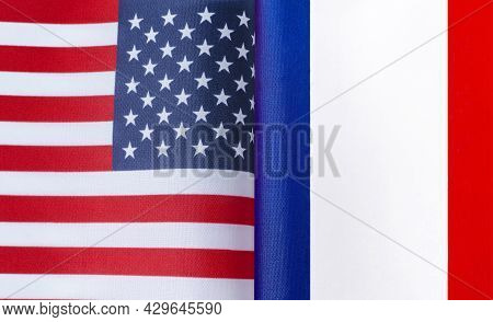 Fragments Of The National Flags Of The United States And France In Close-up