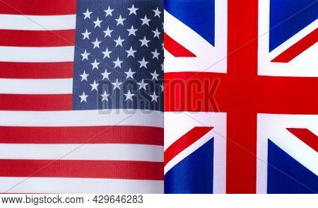 Fragments Of The National Flags Of The United States And Great Britain In Close-up