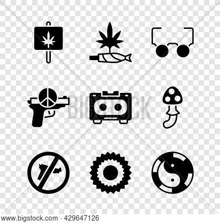 Set Marijuana, Joint, Spliff, Glasses, No War, Sun, Yin Yang Symbol, And Retro Audio Cassette Tape I