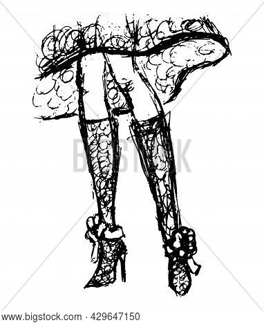 Rough Freehand Drawing Of Female Legs In High-heeled Knee-high Boots And Dress. Vector Sketch Of Bod