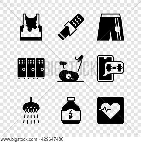 Set Sweaty Sleeveless T-shirt, Protein Sport Bar, Short Pants, Shower, Sports Nutrition, Heart Rate,