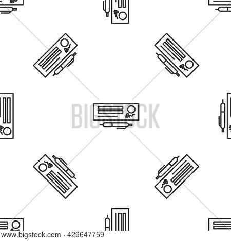Grey Line Blank Template Of The Bank Check And Pen Icon Isolated Seamless Pattern On White Backgroun
