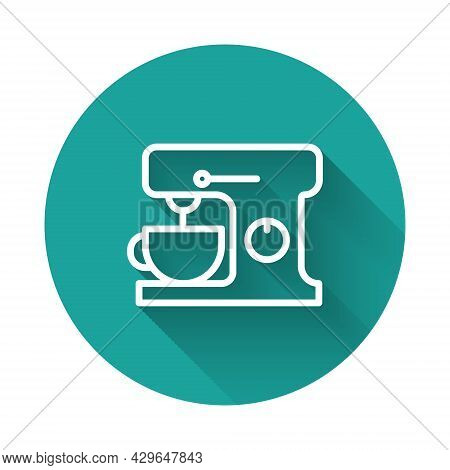 White Line Electric Mixer Icon Isolated With Long Shadow. Kitchen Blender. Green Circle Button. Vect