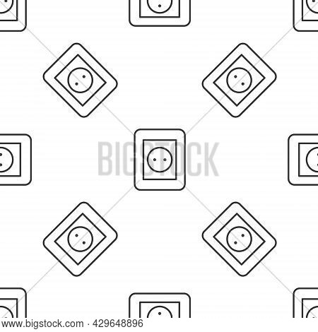 Black Electrical Outlet Icon Isolated On White Background. Power Socket. Rosette Symbol. Yellow Squa