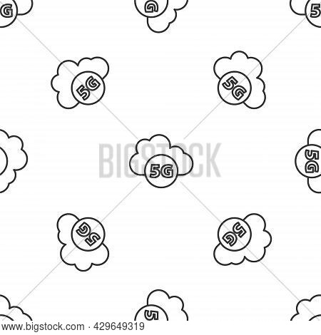 Grey Line Cloud 5g New Wireless Internet Wifi Connection Icon Isolated Seamless Pattern On White Bac