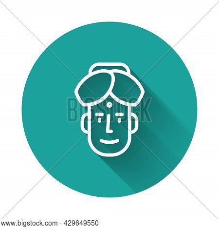 White Line Portrait Of Indian Man Icon Isolated With Long Shadow. Hindu Men. Green Circle Button. Ve
