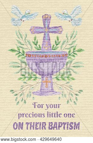 Vector Beige Baby Baptism Card. Textured Template With Cross, Baptismal Bowl, Flying Doves And Lette