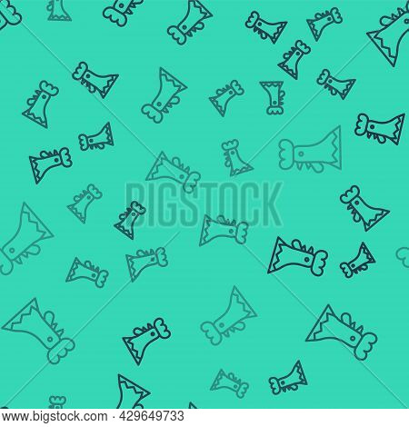 Black Line French Rooster Icon Isolated Seamless Pattern On Green Background. Vector