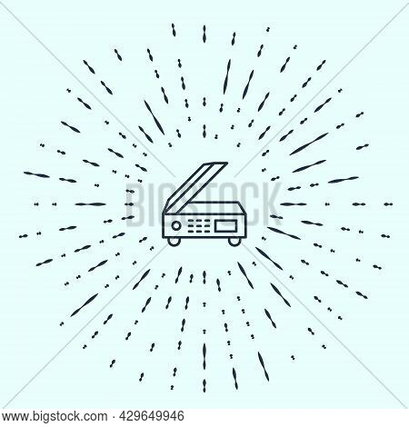 Black Line Scanner Icon Isolated On Grey Background. Scan Document, Paper Copy, Print Office Scanner