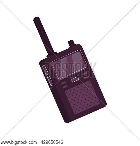 Flat Icon With Radio Transceiver Walkie Talkie Vector Illustration