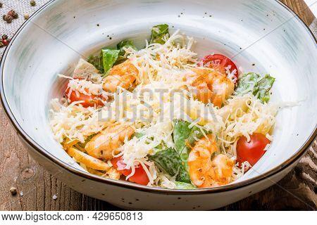 Salad Caesar With Shrimps Macro Close Up