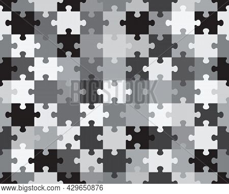 Separate Pieces Of Gray Camouflage Puzzle, Seamless Illustration