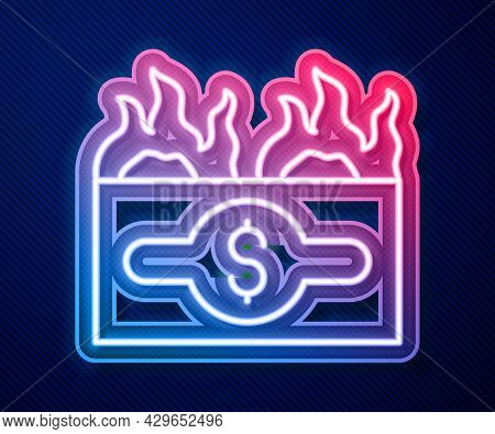Glowing Neon Line Burning Dollar Bill Icon Isolated On Blue Background. Dollar Bill On Fire. Burning